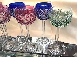 7 Gorgeous Antique Vintage St. Louis Hock Colored Cutaway Crystal Wine Glasses