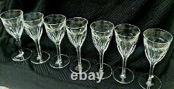 7x Large Claret Moser Crystal Art Nouveau Lady Hamilton Wine Glasses Faceted Cut