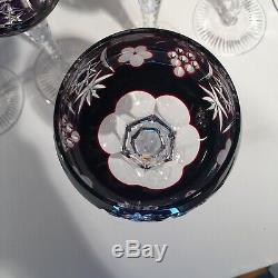 8 AJKA MARSALA Multi Color BOHEMIAN GLASS CUT TO CLEAR 8 1/4 Wine Hock Glasses