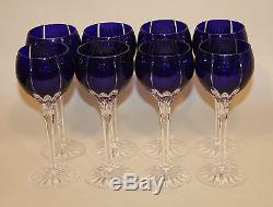 8 Ajka Hungary Albinka / Castille Cobalt Blue 8-1/4 Inch Wine Hocks Glasses