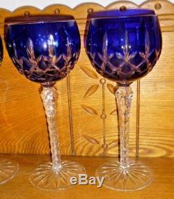 8 Ajka Hungary Crystal Hock Wine Stems Cobalt Emerald Amethyst Ruby Arabella