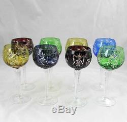 8 Ajka Masala Pattern Cut To Clear Crystal Wine Hocks Glasses 7.5 7.5 oz Mint