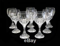 8 Baccarat France Crystal Art Glass Bordeaux Wine Goblets in Massena