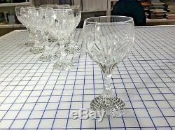 8 Beautiful French Baccarat Massena 7 Crystal Water/wine Goblets