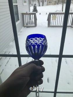 8 Crystal Legends Godinger PINEAPPLE Cobalt Blue Cut to Clear Wine Hock Goblet