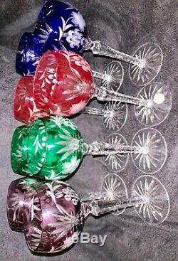 8 Cut Crystal Clear Industries Wine Grape Hock Stem Crafted in Hungary 4 Colors