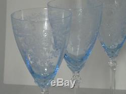 8 Fostoria June Blue Crystal 8 1/2 Large Claret Wine Water Etched Glass