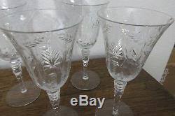 8 Libby Rock Sharpe Cut Crystal Wheel Cut Stem 7.75 Water, Wine Goblets, Fernwood