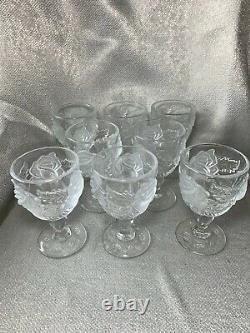 8 Madonna Inn Rose Satin Crystal Carnival Glass Goblet 5 ounces (wine)