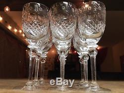8 Perfect Rogaska Gallia Wine Glasses Crystal Etched Glass