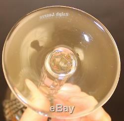 8 Ralph Lauren Glen Plaid Crystal Wine Goblet Glasses
