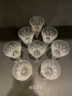 8 Val ST Lambert STATE OXFORD Clear Crystal Stemware Wine Glasses 1956-62