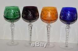 8 Vintage AJKA Bohemian Traube Multi-colored Cased Cut to Clear Wine Goblets-8H