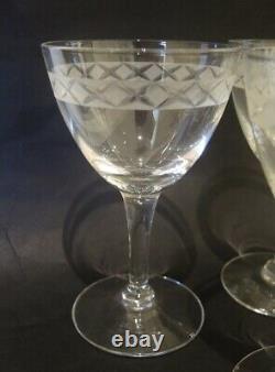 8 Vintage Holmegaard Etched Ejby Red Wine Glasses Jacob Bang 1937