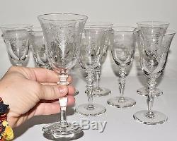 9 Elegant Floral Etched Crystal Wine Goblet Stems Glasses 6.5 with FLower Basket
