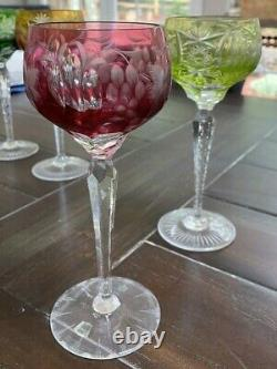 9 Nachtmann Traube Cut To Clear Crystal Wine Goblets 8 1/4 Tall