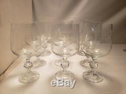 9 Vtg. Beautiul Etched Design Romantic Crystal Stemware wine Glasses wedding
