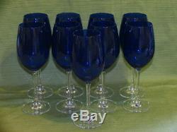 9 WALTHER GLAS CRYSTAL WINE GLASSES Cobalt Blue Stem Top Clear Bottom