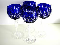 AJKA ARABELLA COBALT BLUE CASED CUT TO CLEAR CRYSTAL WINE GOBLETS Set of 4