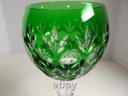 AJKA Crystal Florderis Pattern Cut-to-Clear Emerald Green Wine Hock Set of 4
