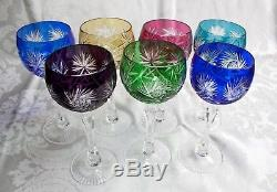 AJKA Crystal Wine Glasses Multi Color Cut to Clear Glasses Set of 7