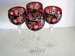 AJKA MARSALA EXCELSIOR RUBY RED CASED CUT TO CLEAR WINE GOBLETS 8 1/2 Set of 4