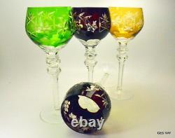 AJKA MARSALA or NACHTMANN TRAUBE Cased Cut Crystal TALL HOCK WINE GLASSES