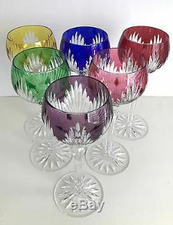 AJKA MULTI COLOR CASED CUT TO CLEAR CRYSTAL 8 1/4 WINE GOBLETS Set of 6