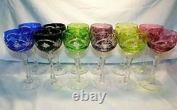 AJKA Multi-Color Cut-to-Clear Crystal 12 Blown Wine Hocks Goblets 7 1/2 w2s12