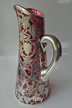 ANTIQUE 1920s ALVIN STERLING SILVER OVERLAY WINE JUG/PITCHER RED CRYSTAL GLASS