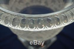 ANTIQUE CRYSTAL CHAMPAGNE COOLER WINE FROSTED GLASS GRAPE PATTERN FOOTED 9in