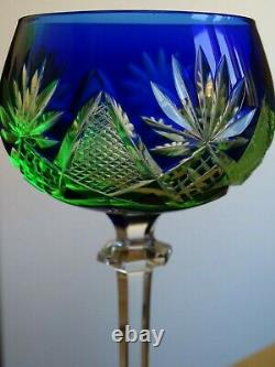 ANTIQUE ROEMER WINE GLASS CRYSTAL VAL SAINT LAMBERT BLUE URANUIM VASELINE chip