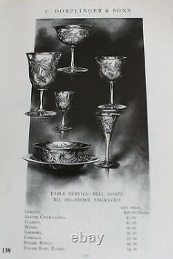 ANTIQUE SET 10 DORFLINGER Stone Engraved ABP Crystal ABP Glass WINE CLARETS