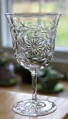 ANTIQUE SET 10 DORFLINGER Stone Engraved ABP Crystal ABP Glass WINE GOBLETS