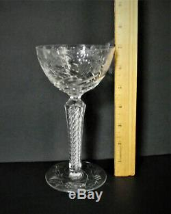 ANTIQUE Seneca AIR TWIST STEM Cut Crystal OPTIC ENGRAVED Etch Glass Wine Goblet