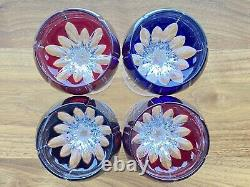Ajka Castille Cut to Clear Crystal Hungary Red Blue Purple Wine Glasses Balloon