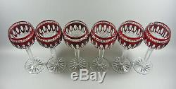 Ajka Clarendon Ruby Red Cased Cut To Clear Crystal Wine Glass Goblets Set Of 6
