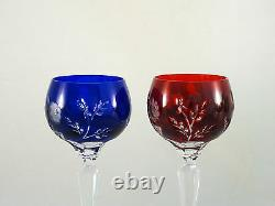 Ajka Crystal Cut Clear Blue Red Green Amethyst Butterfly Tall Hock Wine Glasses