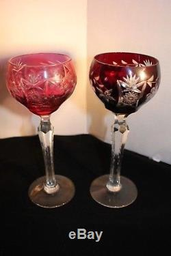 Ajka Crystal Wine Glasses Multi Color Cut to Clear Set of 6 Made in Hungary