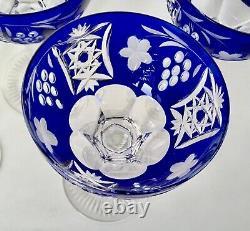 Ajka Marsala Bohemian Cut To Clear Crystal Wine Hock /goblet Cobalt Blue. Six