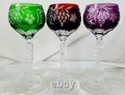 Ajka Marsala Emerald Ruby Amethyst Cut to Clear Crystal Tall Wine Hocks Set of 3