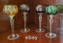 Ajka Marsala Multi Color Cut To Clear Crystal Hock Wine Glasses- Set Of (4)