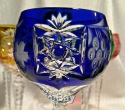 Ajka Marsala Wines Gold Pink Blue Purple Red Green Cut To Clear Crystal Bohemian