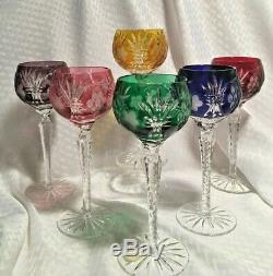 Ajka Martisa Wine Glass S/6 All Colors Cut To Clear Crystal Bohemian Hungary