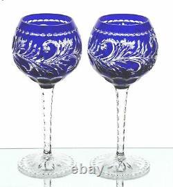 Ajka Monika Cobalt Blue Cased Cut to Clear Crystal Wine Goblets New Signed