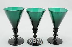 Antique 18th C. White Wine Glass, ca. 1790, petrol / blue green crystal