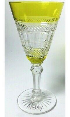 Antique 1907 Baccarat Crystal Chartreuse Yellow Cut To Clear Bordeaux Wine Glass