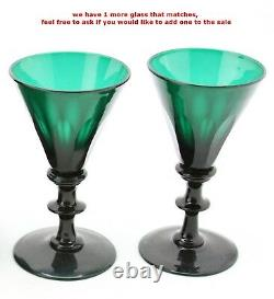 Antique 19th C. Emerald green crystal Water / Dessert Wine Decanter & 2x Glass