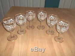 Antique 6 Moser Bohemian Fine Crystal Enameled Quadrefoil Wine Glasses / Goblets