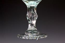 Antique Bohemian Czech Heavy Cut Crystal Wine Goblets Air Trap Stem Set of 5